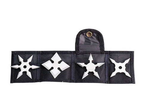 Ninja Stars Throwing 4-Piece Set Silver