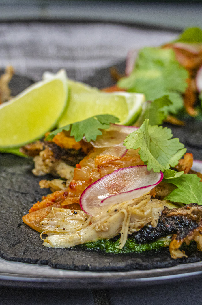 Korean BBQ Chicken Tacos with Activated Charcoal Tortillas