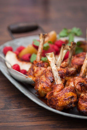 Raspberry Chipotle Chicken Lollipops