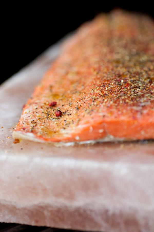 Salt Block Grilled Salmon Recipe With Pink Peppercorn Lemon Thyme Seasoning