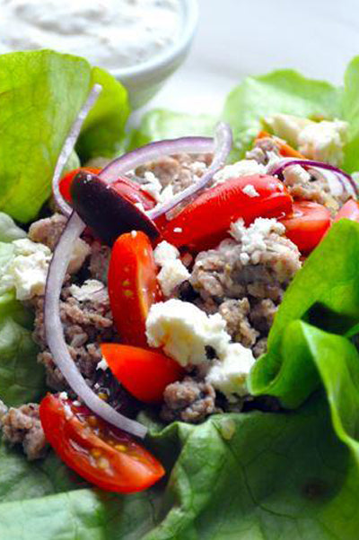 Greek Turkey Lettuce Wraps