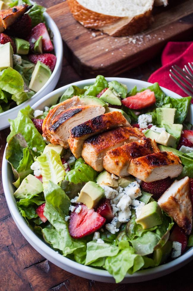 Smoky Honey Chicken Salad with Strawberries & Bleu Cheese | Spiceology