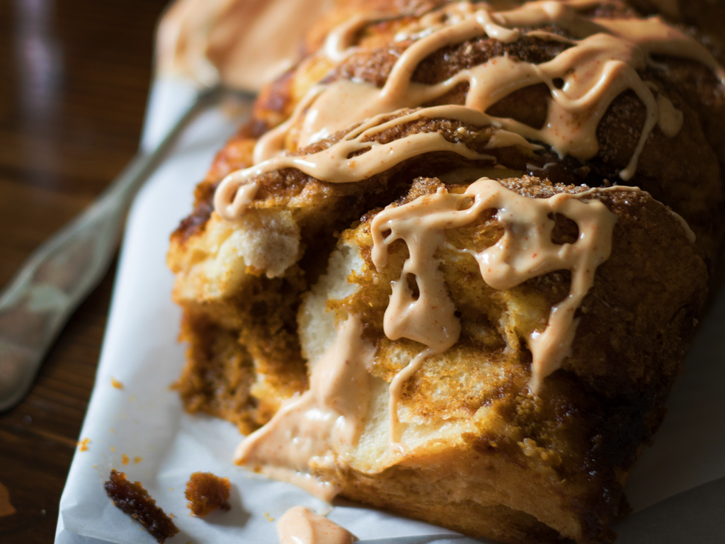 Spiceology Pumpkin Pull Apart Bread with Spiced Cream Cheese Icing