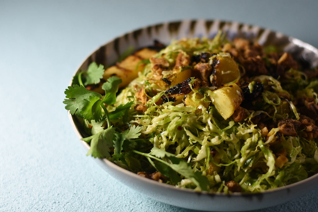 Hawaiian Shaved Brussels Sprout Salad