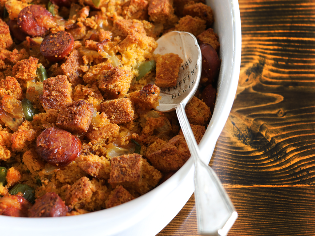 Spiceology Cornbread Stuffing with Chorizo and Jalapeños Recipe
