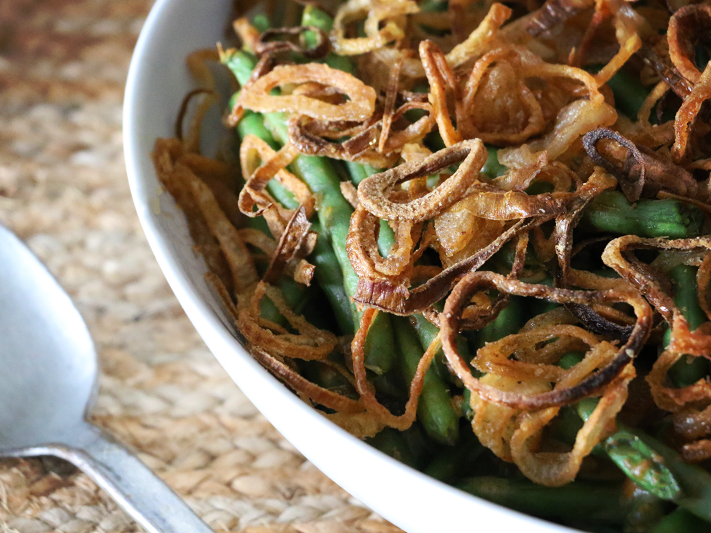Spiceology Spiced Green Bean Casserole with Crispy Shallots