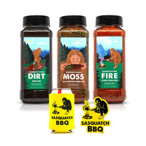 Sasquatch BBQ Rub 3 Pack + Koozie + Magnet Bundle Spiceology