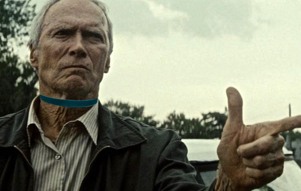 Clint's teal velvet choker: not quite as intimidating now is it?