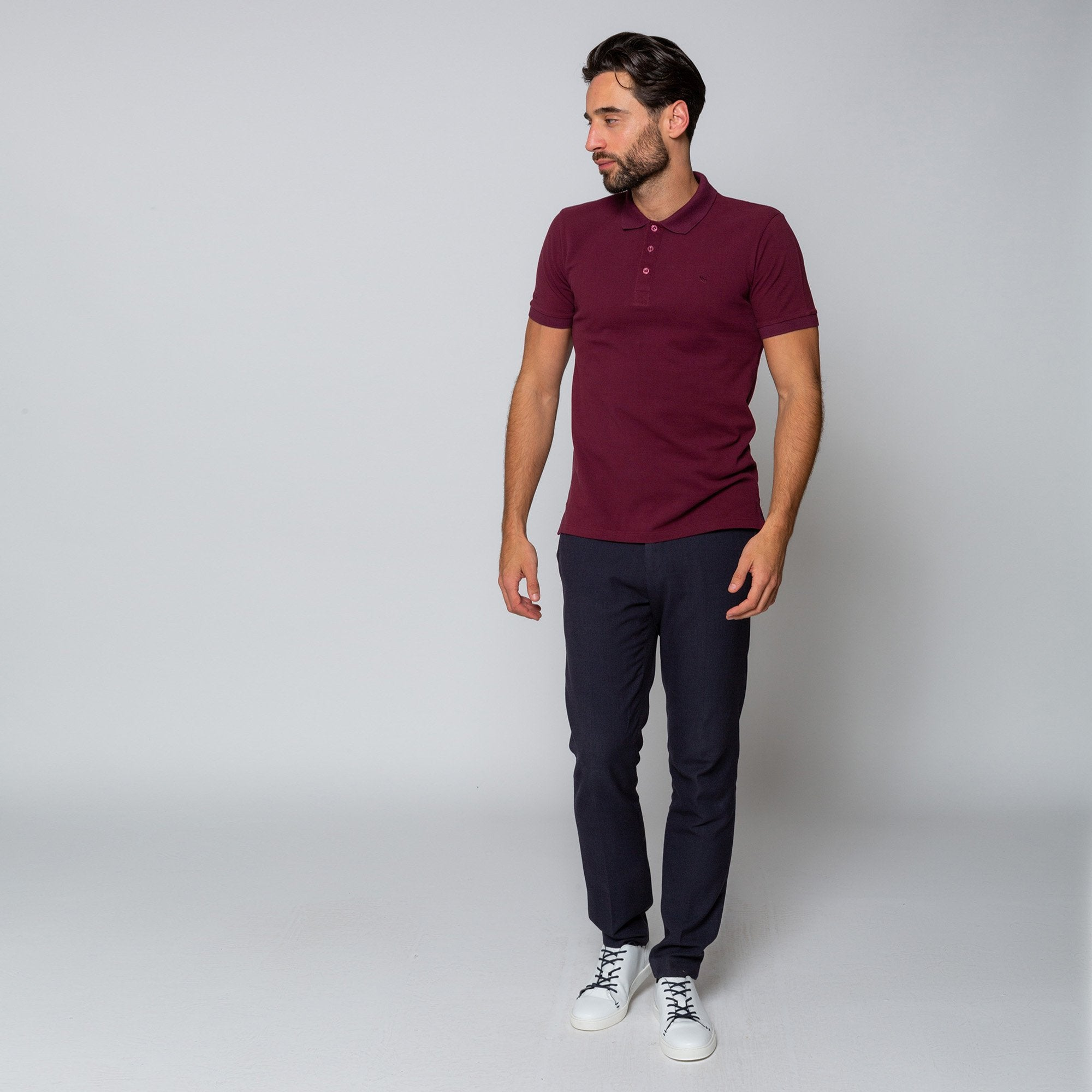 Goodwin Smith Clothing S / Maroon / Cotton Pique HEWITT MAROON