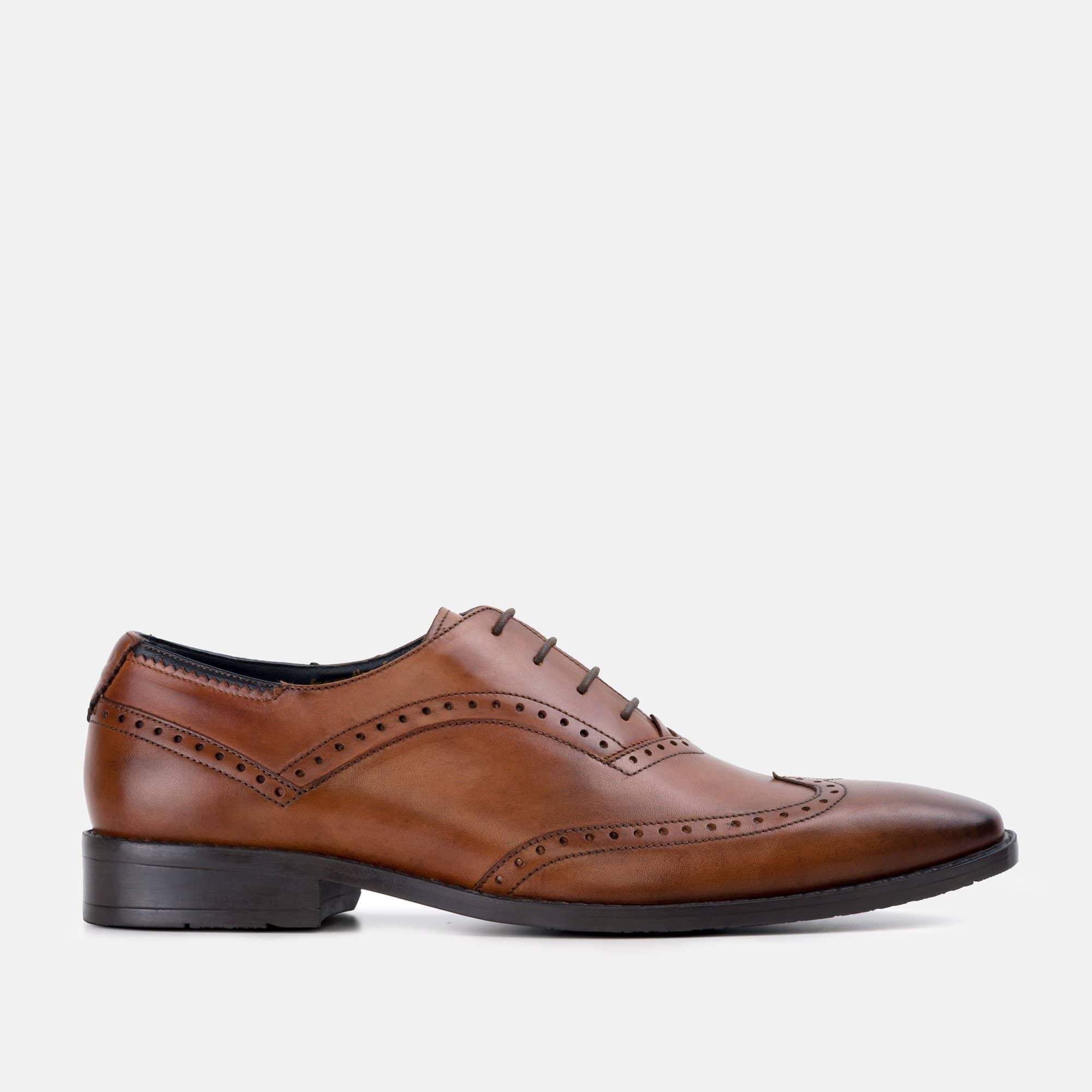Goodwin Smith Footwear Albany Tan Winged Toe Oxford Leather Shoe
