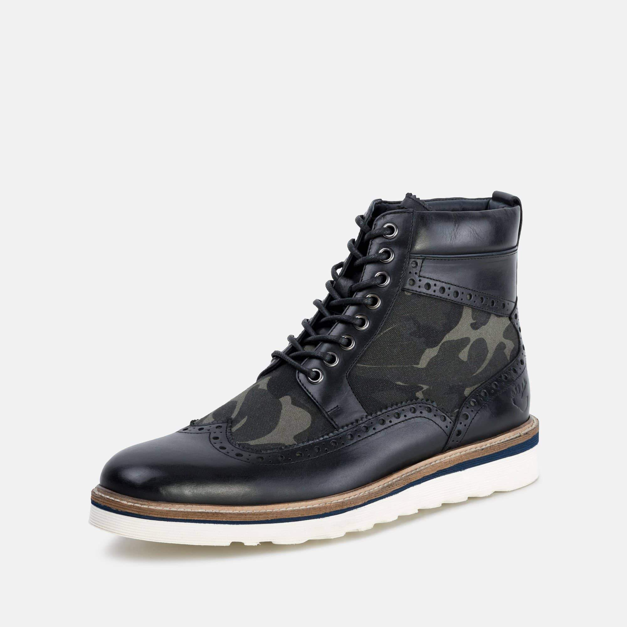 Goodwin Smith Footwear AW19 Goodwin Smith Mens Linwood Camo Leather Wedge Boot