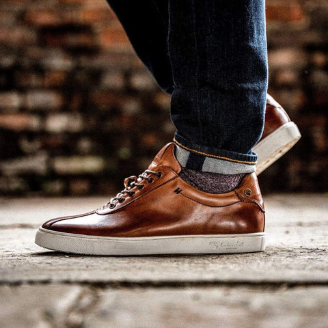 Goodwin Smith Footwear AW19 Lex Tan Smart Leather Plimsoll