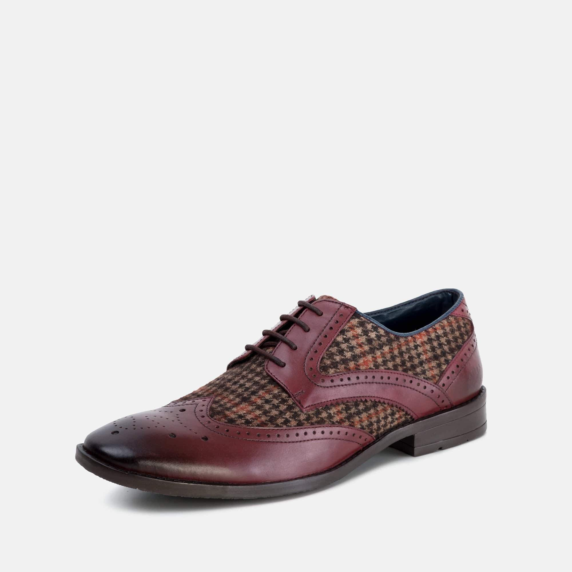 Goodwin Smith Footwear AW19 MENS GOODWIN SMITH NEWCHURCH BORDO HOUNDTOOTH DERBY