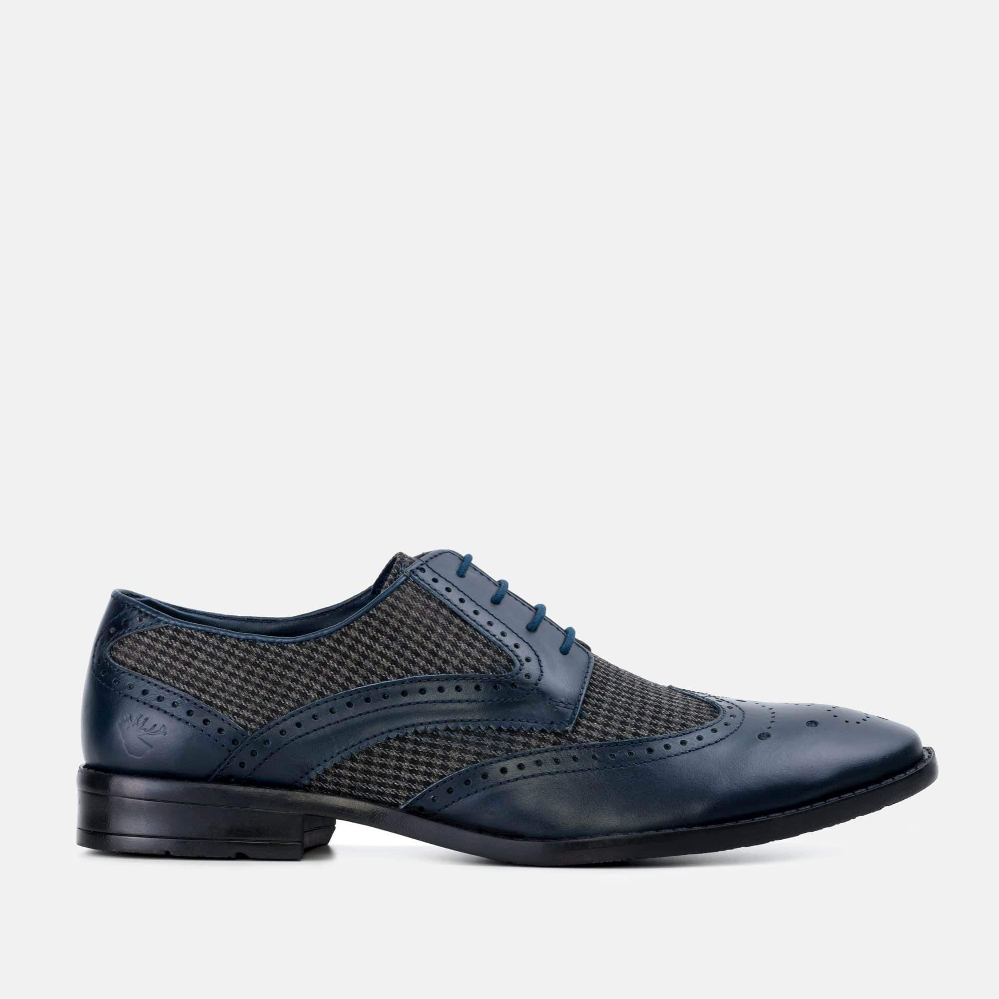 Goodwin Smith Footwear AW19 MENS GOODWIN SMITH NEWCHURCH NAVY HOUNDTOOTH DERBY