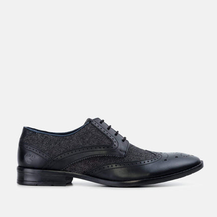 Goodwin Smith Footwear AW19 MENS GOODWIN SMITH WALLACE BLACK HERRINGBONE DERBY