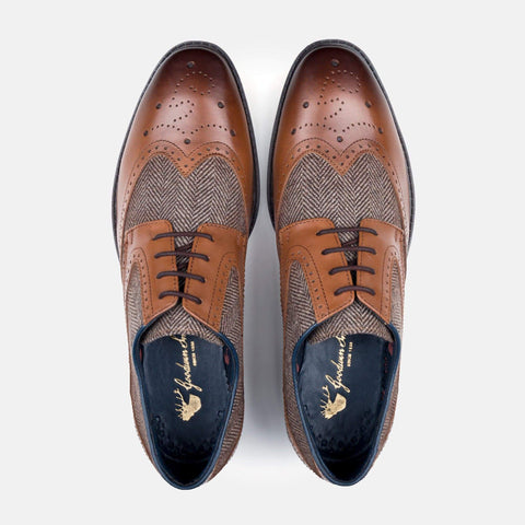 Goodwin Smith Footwear AW19 MENS GOODWIN SMITH WALLACE TAN HERRINGBONE DERBY