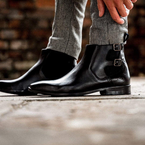 leather chelsea boots mens black