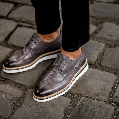 Goodwin Smith Footwear AW19 Ripley Grey Casual Leather Brogue Shoe