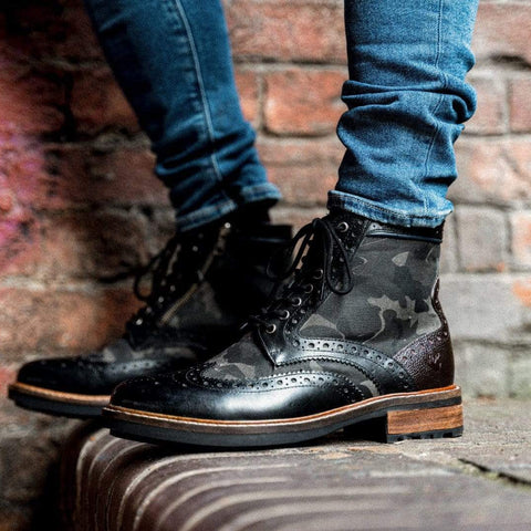 Goodwin Smith Footwear AW19 Sherwood Camo Black Leather Brogue Boot