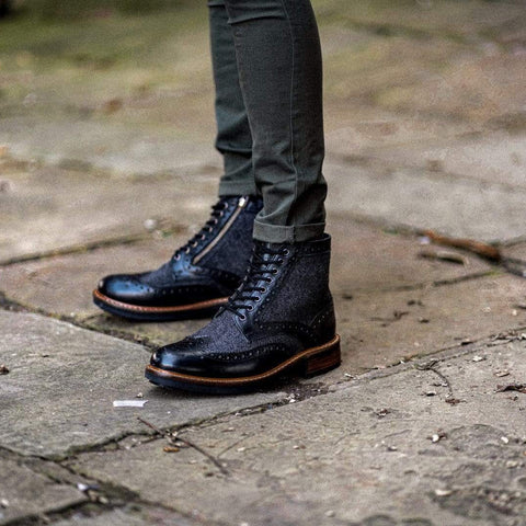 Goodwin Smith Footwear AW19 Sherwood Herringbone Black Leather Brogue Boot
