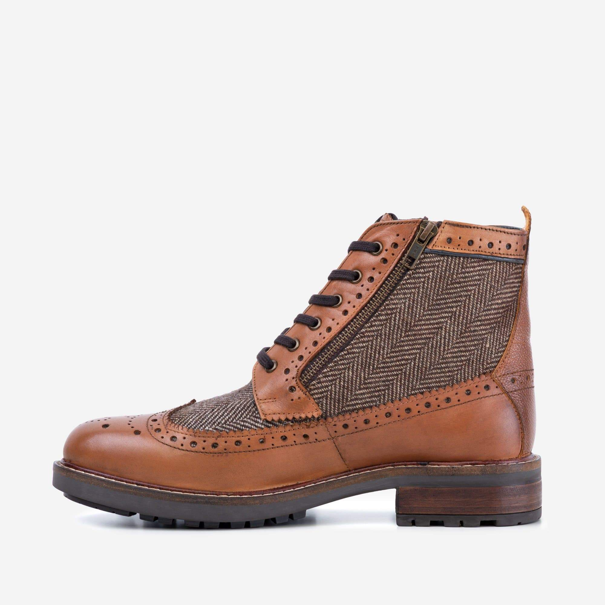 Goodwin Smith Footwear AW19 Sherwood Herringbone Tan Leather Brogue Boot