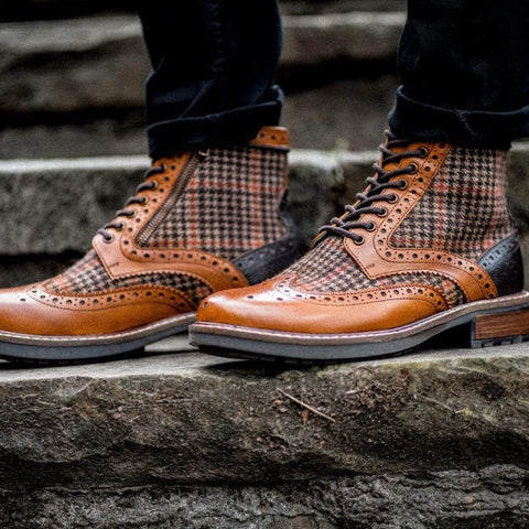Goodwin Smith Footwear AW19 Sherwood Houndstooth Tan Leather Brogue Boot