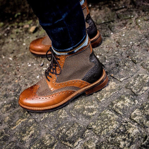 Goodwin Smith Footwear AW19 Sherwood Twill Tan Leather Brogue Boot