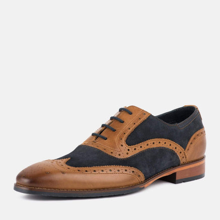 Goodwin Smith Footwear KIRK TAN LEATHER NAVY SUEDE BROGUE