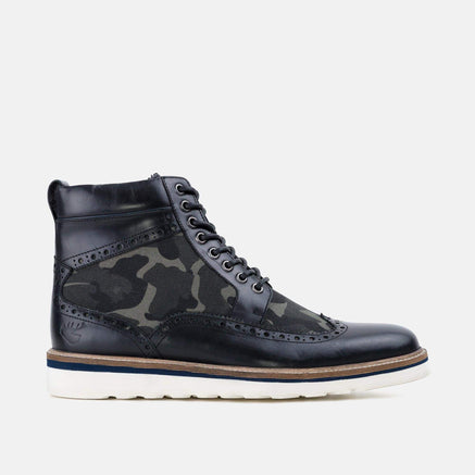Goodwin Smith Footwear Linwood Black Camo Leather Wedge Boot