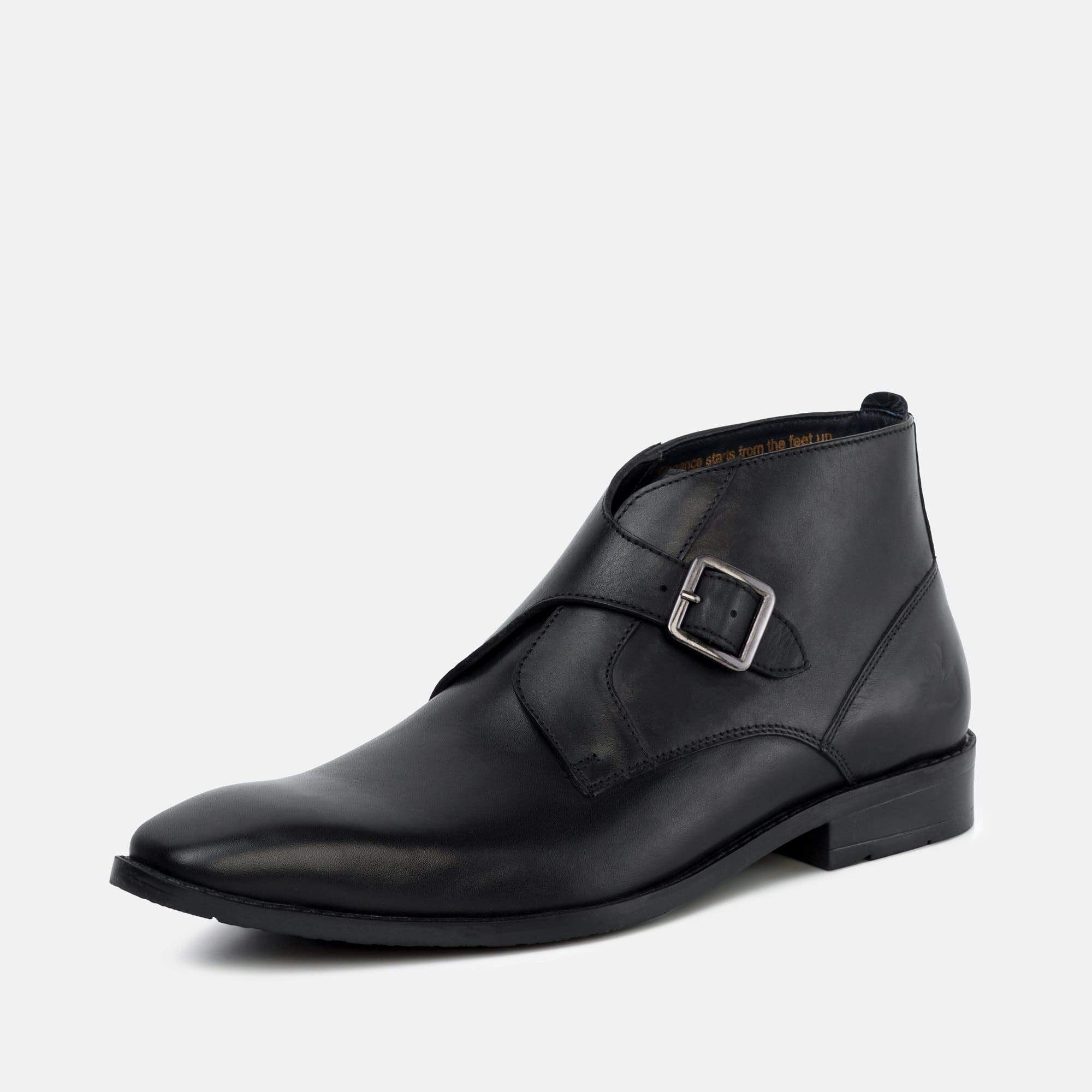 Goodwin Smith Footwear Logan Black Leather Monk Strap Ankle Boot