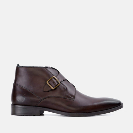 Goodwin Smith Footwear Logan Brown Leather Monk Strap Ankle Boot