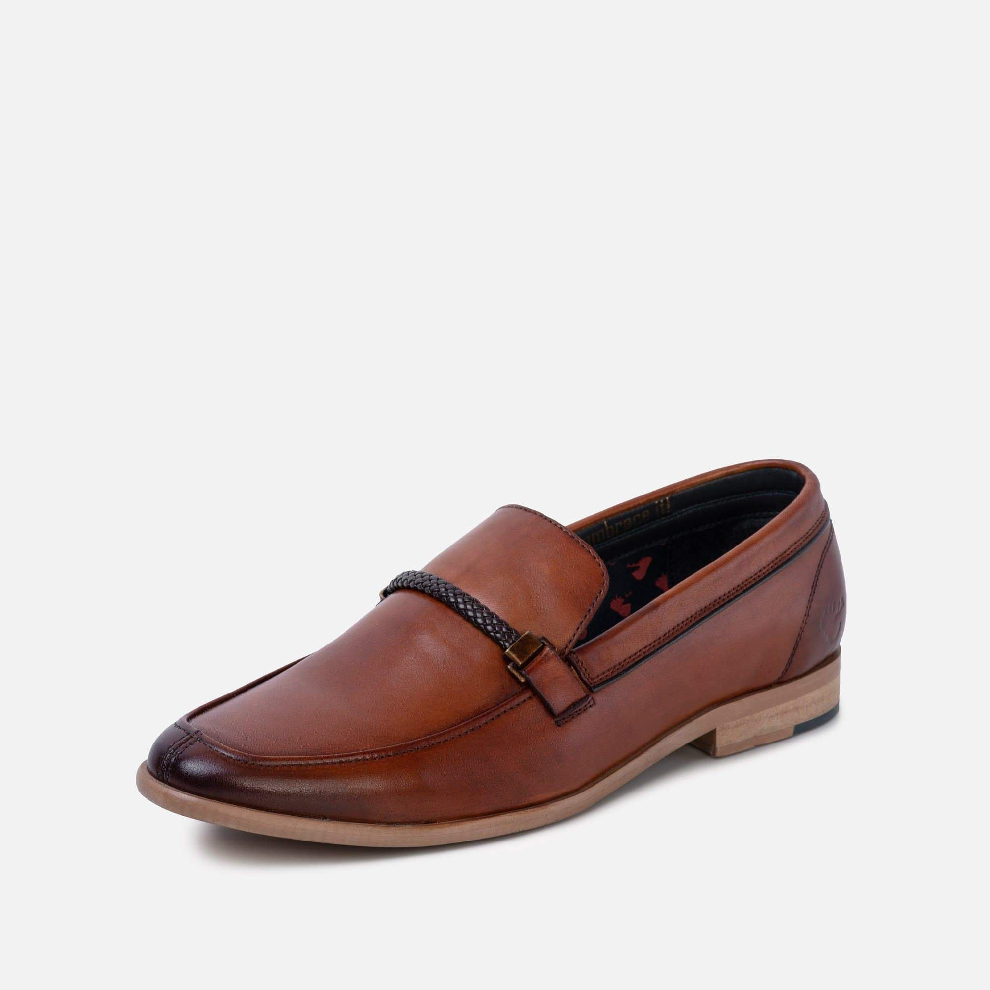 Side profile adrian mens tan leather loafer with round toe
