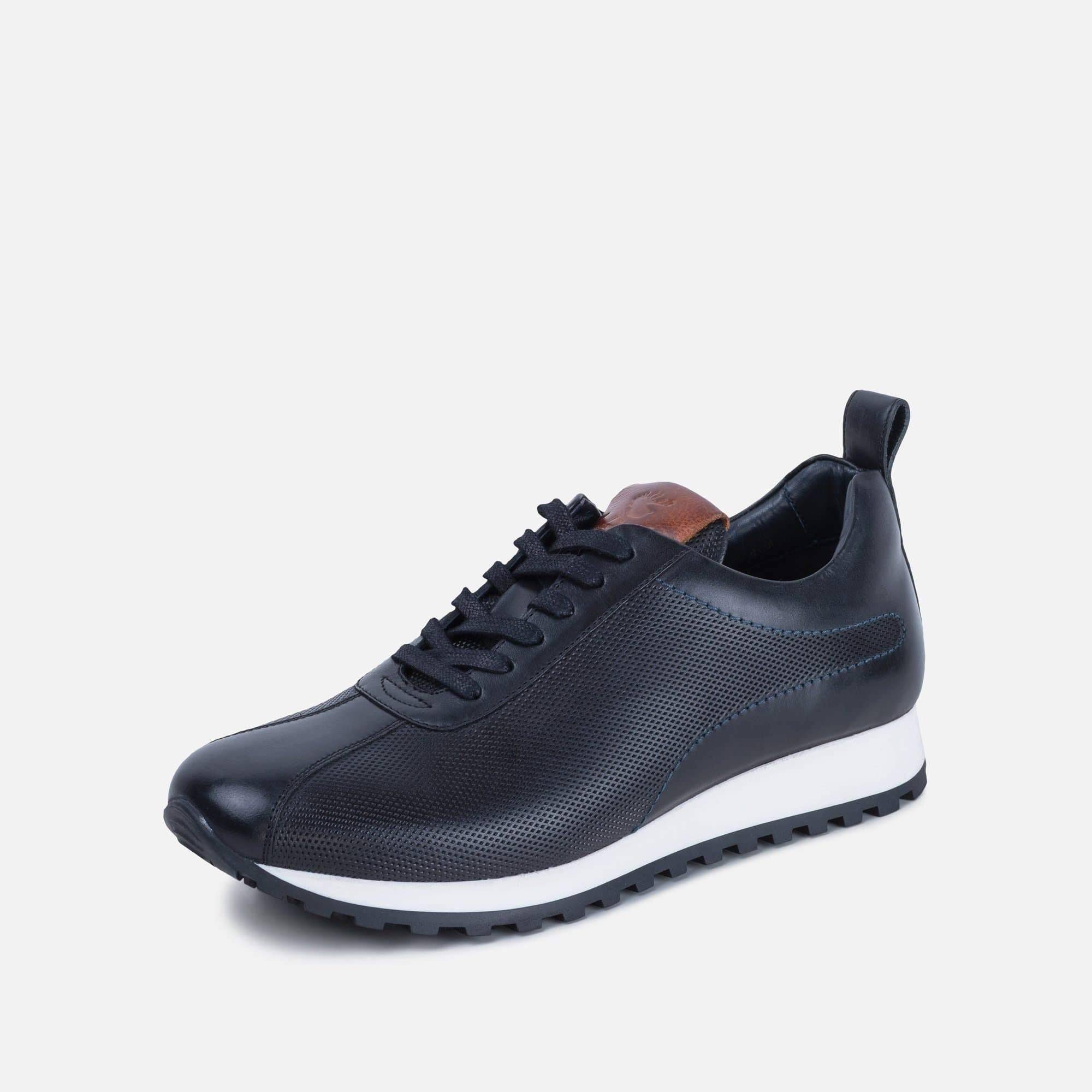 Axel black leather trainer with tan detail and white sole