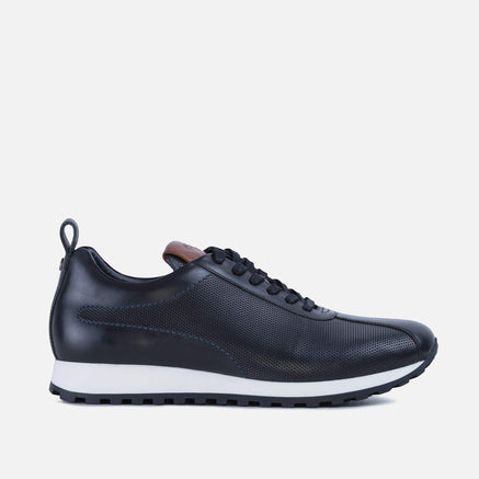 Smart casual axel black leather trainer for men
