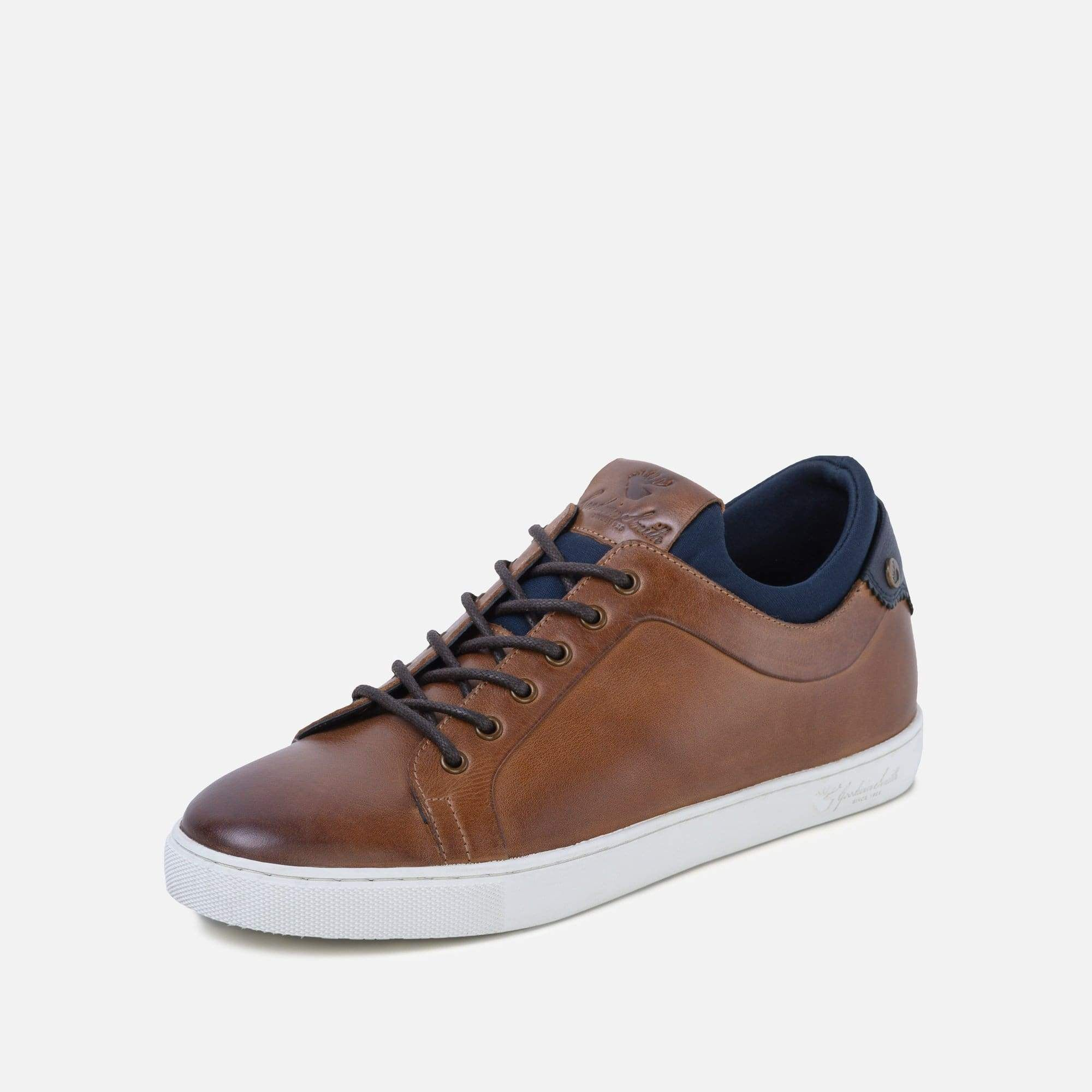 Stitched on TPR plimsoll sole unit on tan plimsoll casual shoes for men