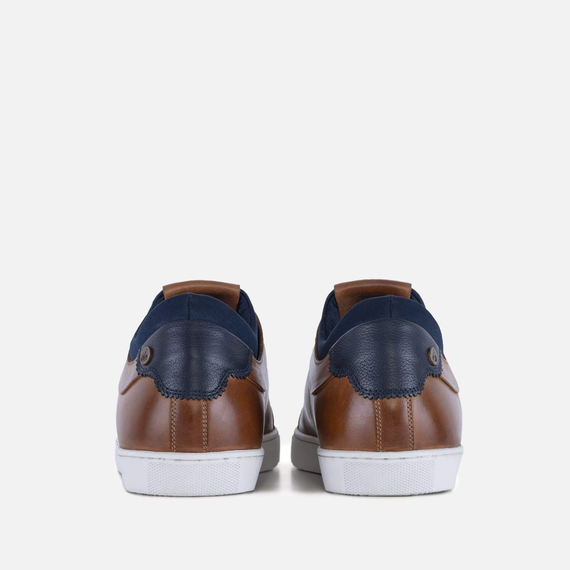Esteban tan plimsoll with stitch facing detail and contrast colour leather heel piece