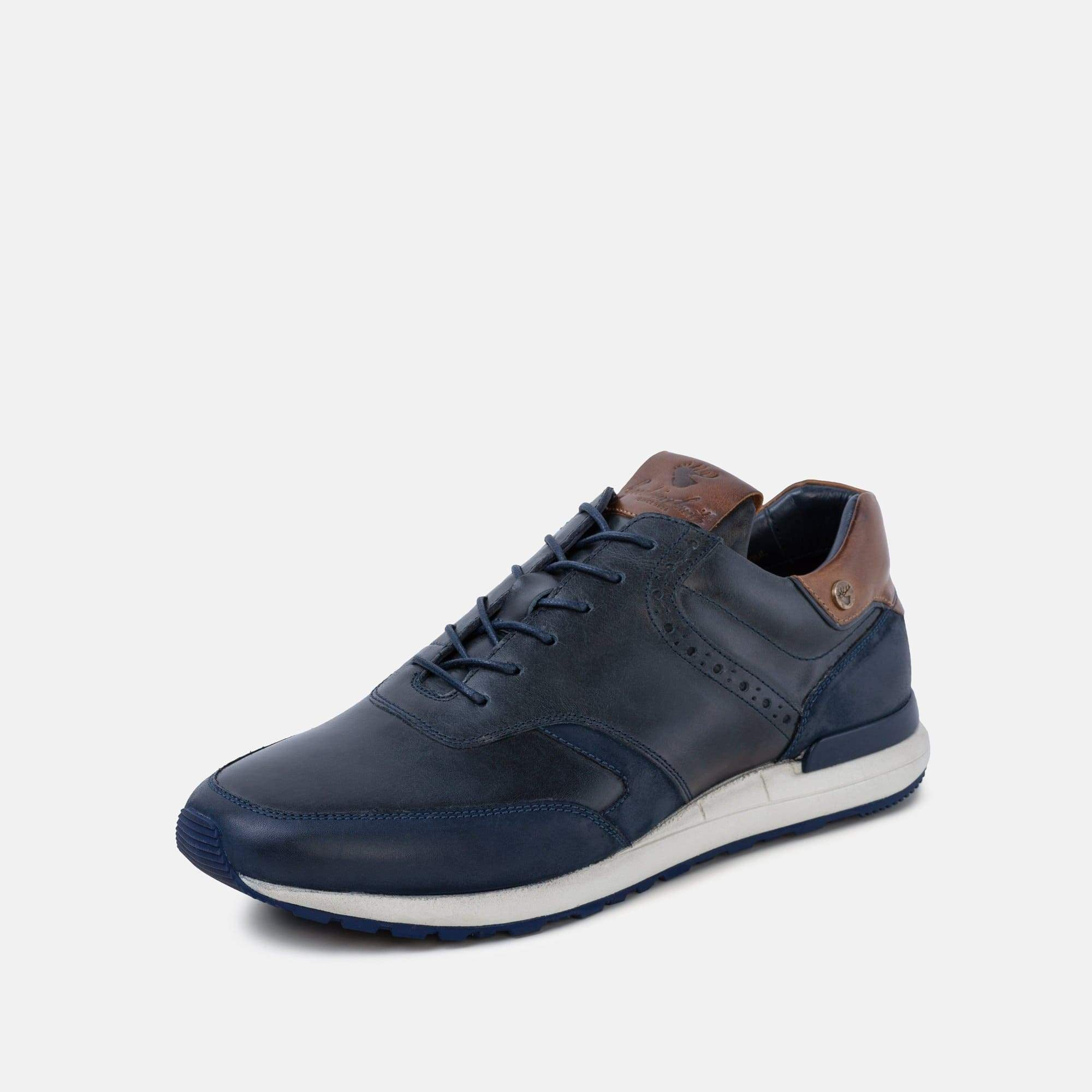 TPR sole with anti-slip tread on mens franco navy trainer