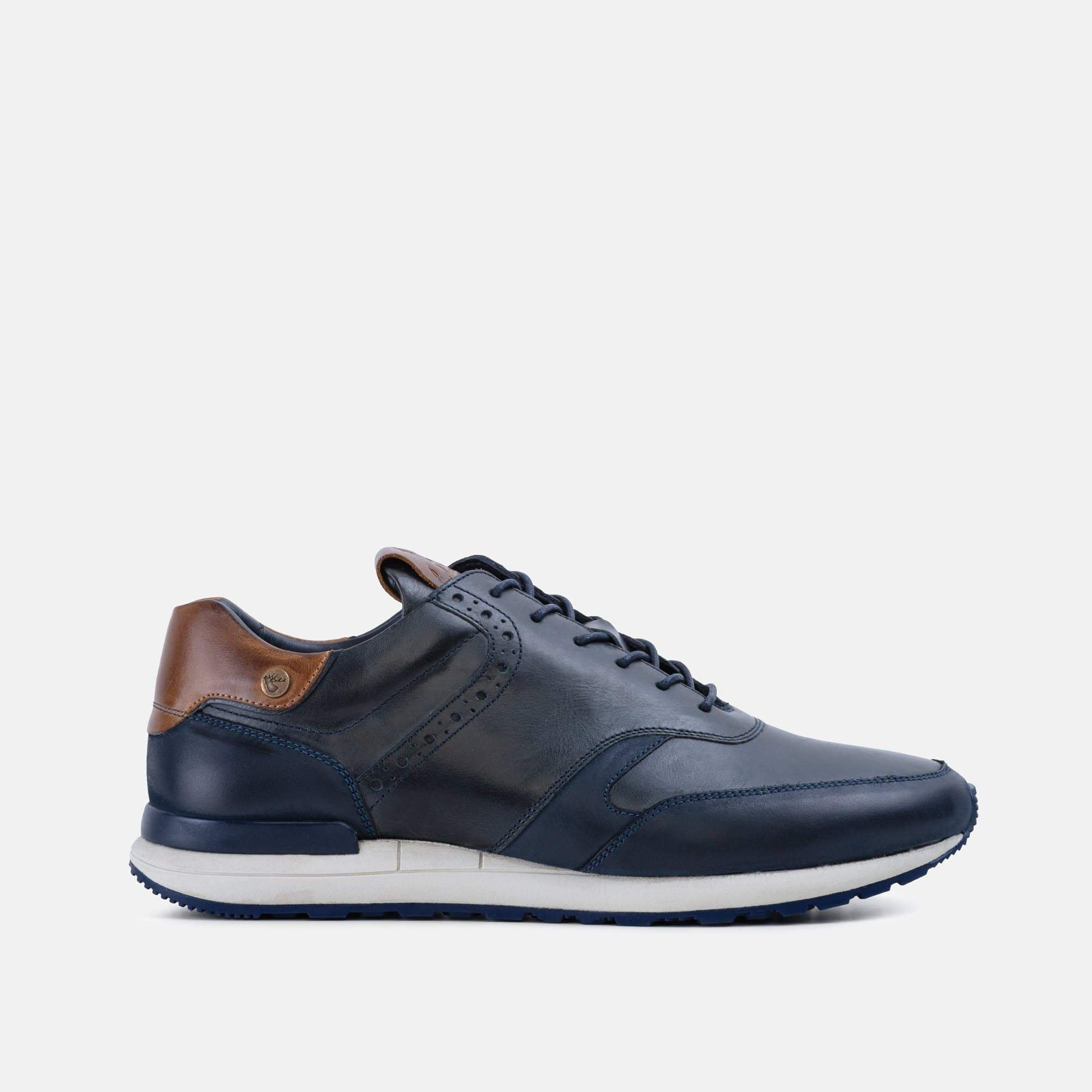 Mens navy smart trainer with wedge heel and nubuck toe cap