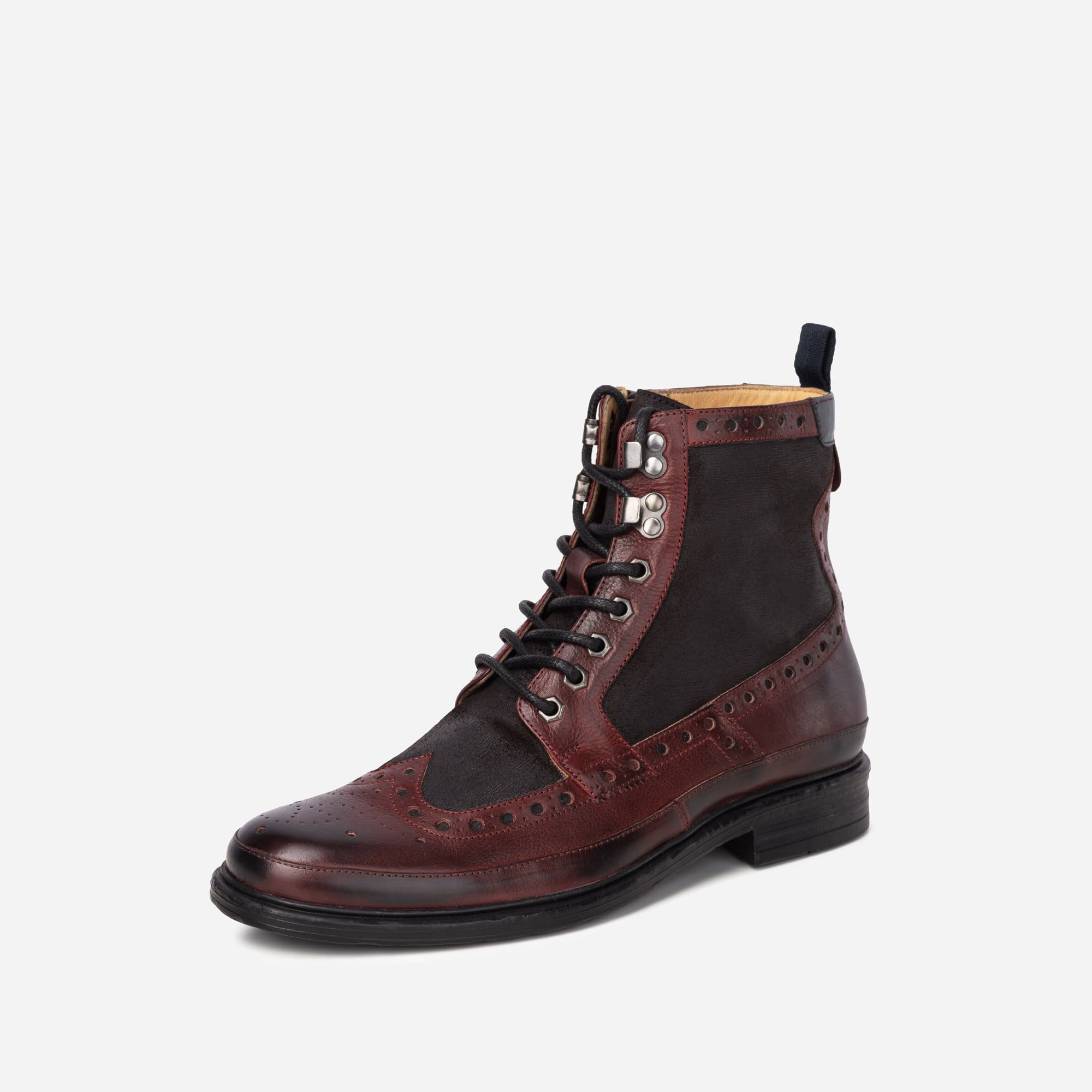 Goodwin Smith Footwear MENS GS ARTISAN  BENNETT BORDO BLACK BROGUE BOOT