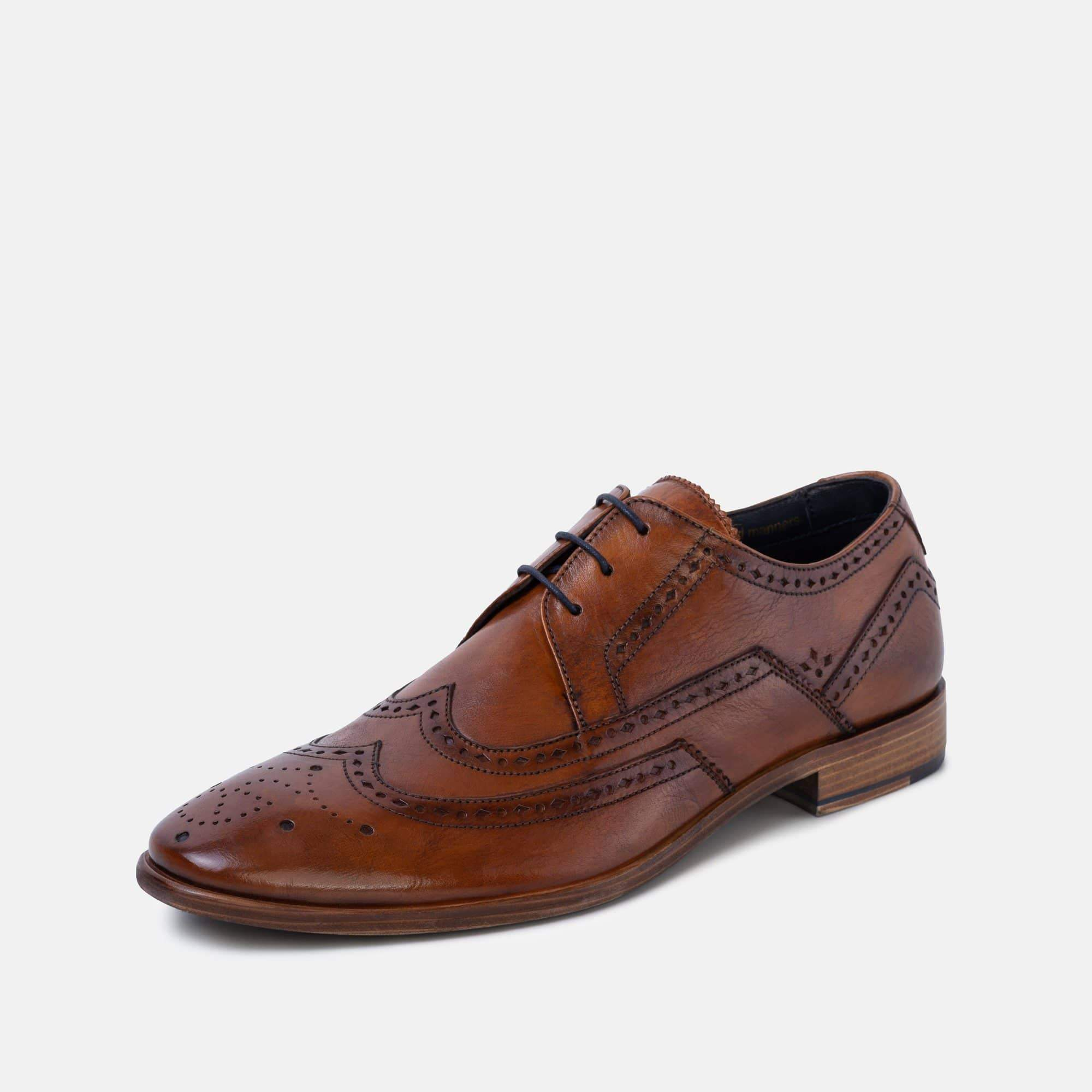 Tan rustic leather mens derby brogues with creased leather effect