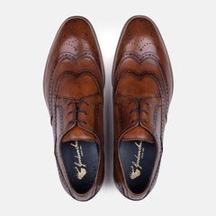 Mens tan derby brogue shoes with winged toe cap and brogue detail