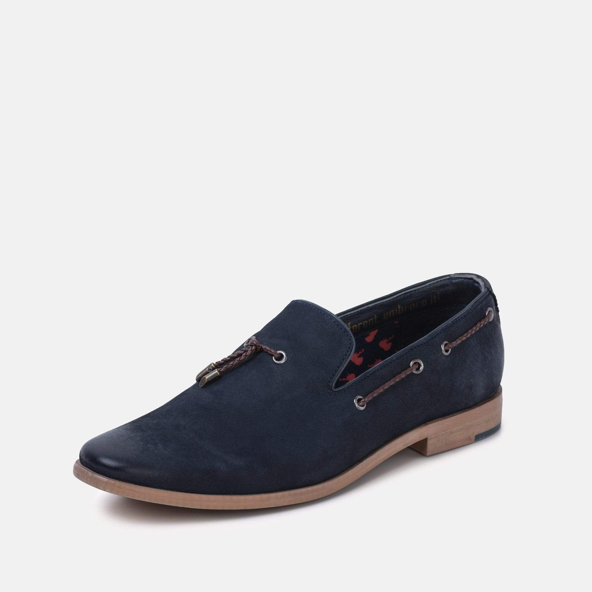 Mens navy nubuck loafer with suede upper classic tab slipper pattern with tassle and interlaced detail