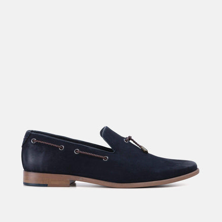 Mens navy nubuck fashionable tab loafer