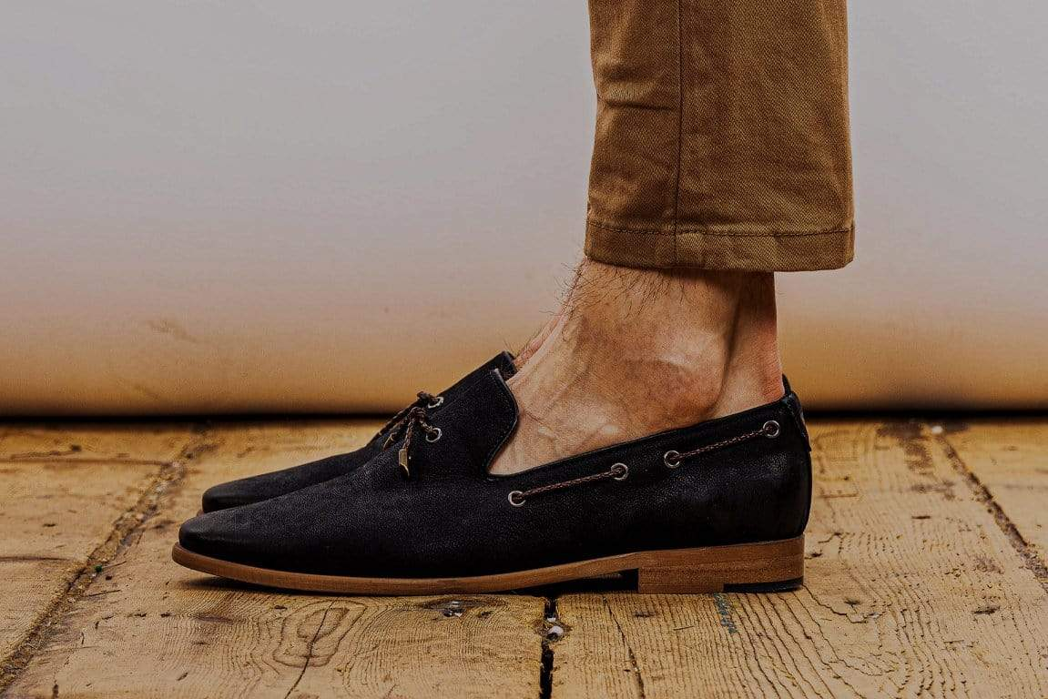 Mens navy nubuck fashionable tab loafer shoes