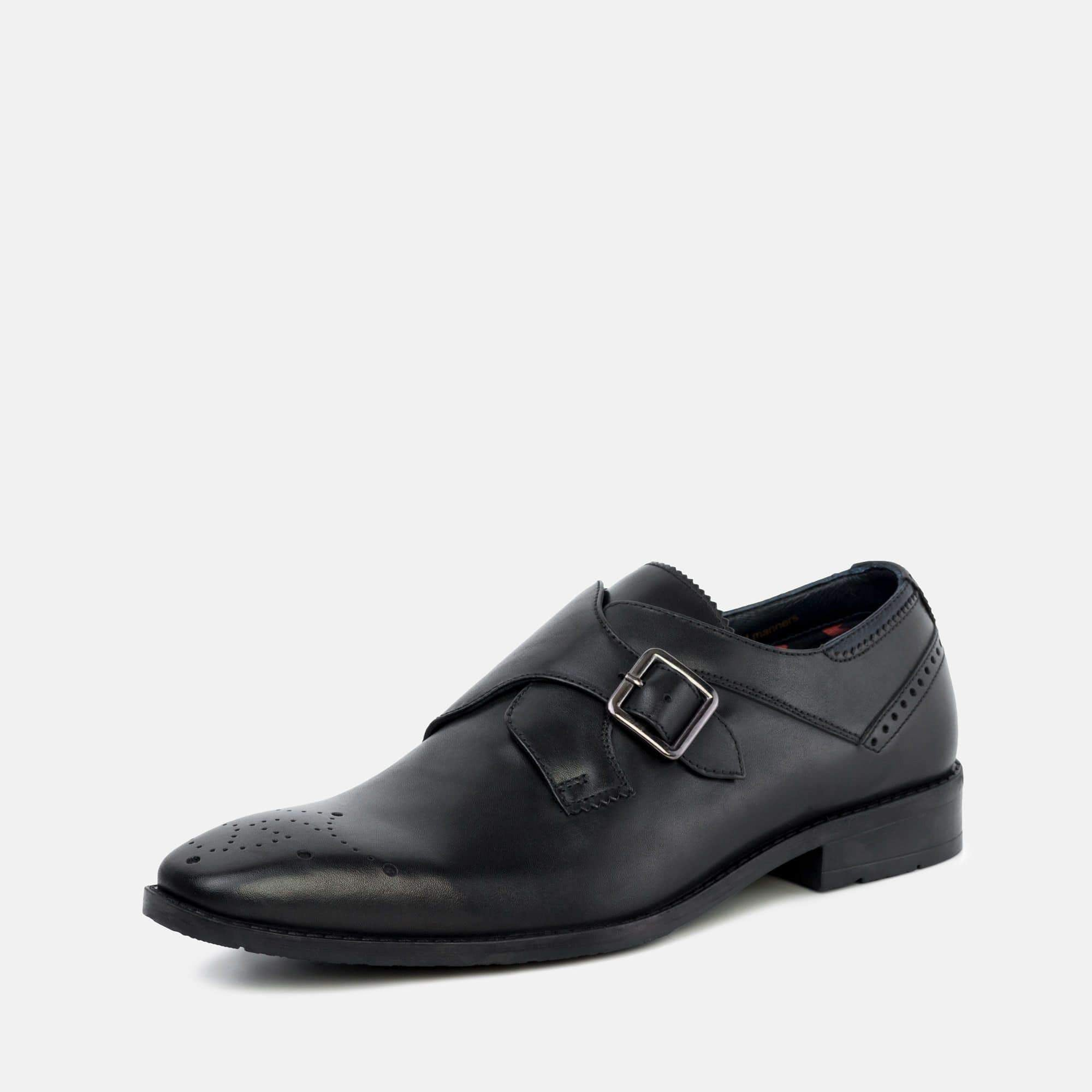 Goodwin Smith Footwear Parker Black Leather Monk Strap Shoe