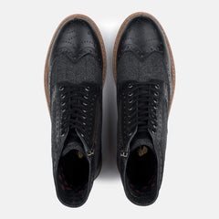 Goodwin Smith Footwear Sherwood Herringbone Black Leather Brogue Boot