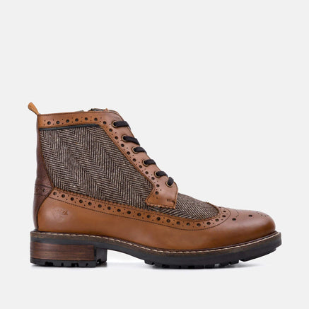 Goodwin Smith Footwear Sherwood Herringbone Tan Leather Brogue Boot