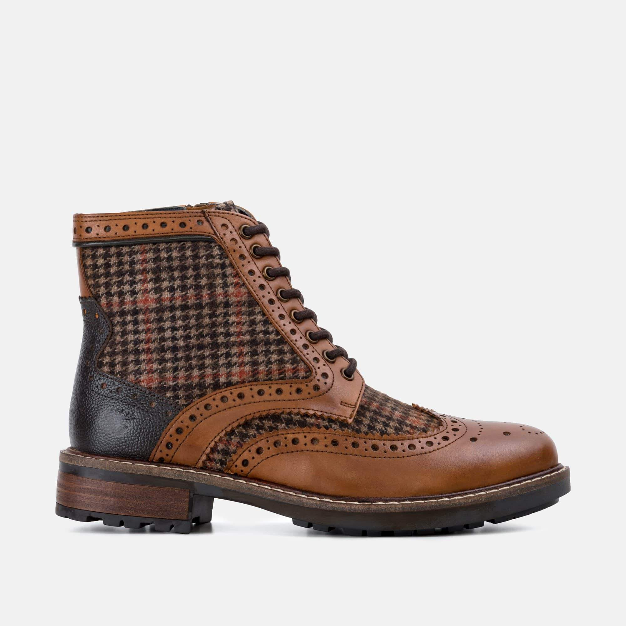 Goodwin Smith Footwear Sherwood Houndstooth Tan Leather Brogue Boot