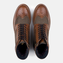 Goodwin Smith Footwear Sherwood Twill Tan Leather Brogue Boot