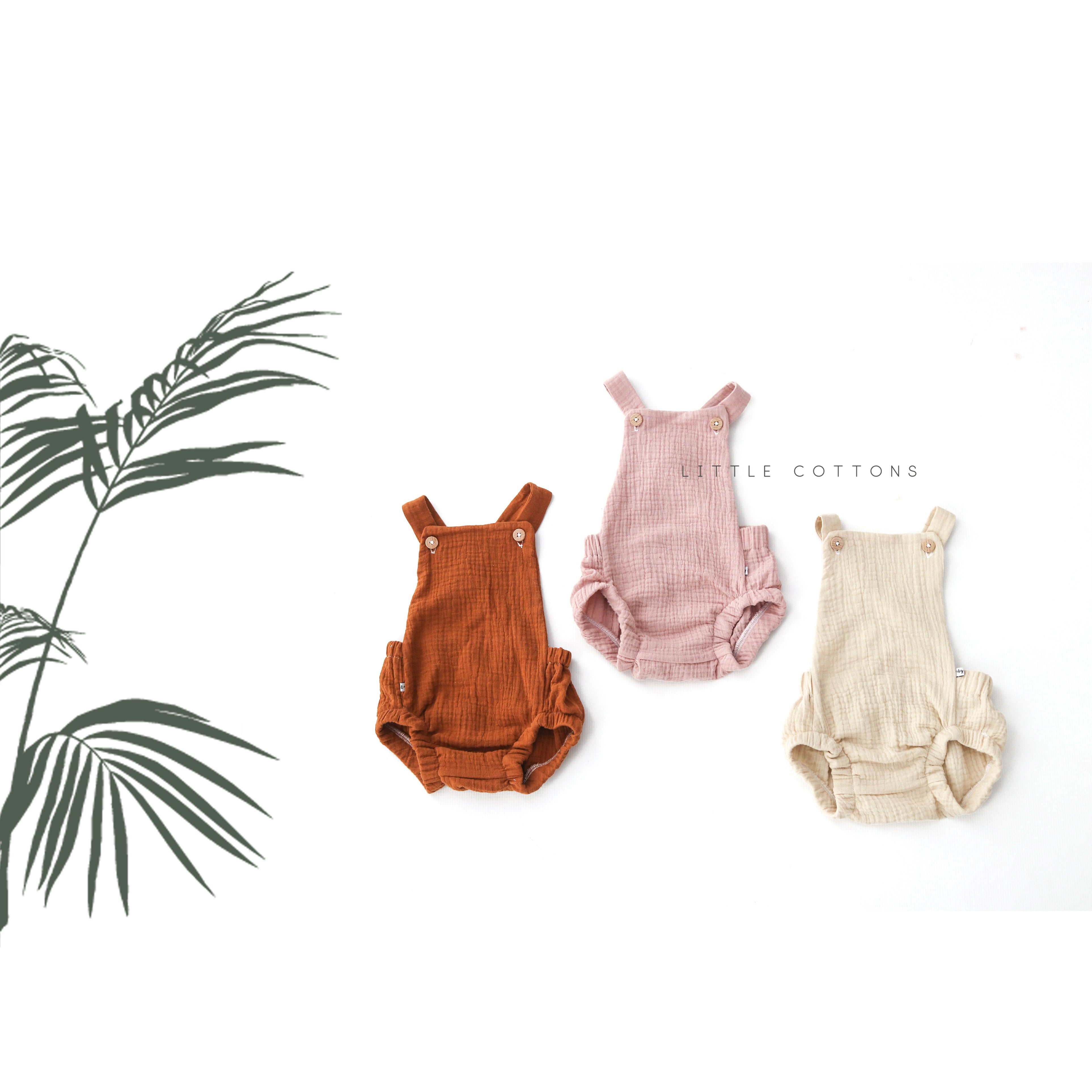 Organic Muslin Romper 0-2 yrs - choose your colour